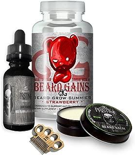 Beard Growth Biotin Supplement Multi-Vitamin Pills Bundle Kit W/Pristine Scented Oil, Balm, Beard Mustache Comb & Grow Gummies   Made in USA