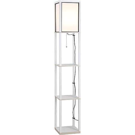HOMCOM Lampadaire étagère Lampe étagère 26L x 26l x 160H cm 3 étagères 4 Niveaux MDF Blanc
