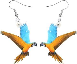 NEWEI Acrylic Flying Yellow-Blue Macaw Parrot Bird Earrings Dangle Drop Animal Jewelry For Women Girls Teen Charm Gifts