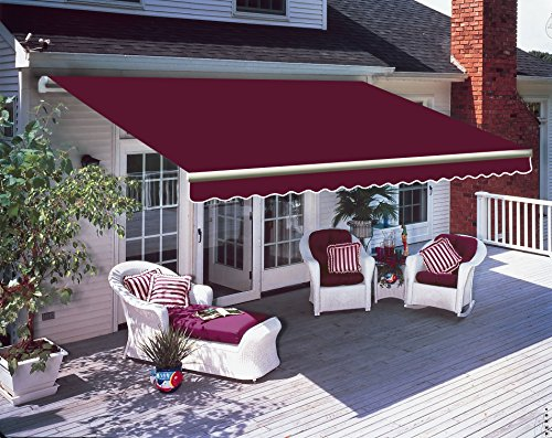 Greenbay 3.5 x 2.5m DIY Patio Retractable Manual Awning Garden Sun Shade Canopy Gazebo Wine Red with Fittings and Crank Handle
