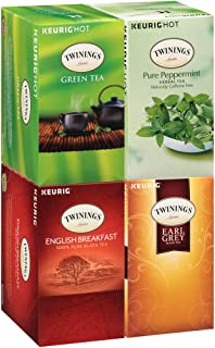 Twinings of London Tea Variety Pack K-Cups for Keurig, 24 Count (Pack of 4) (English Breakfast, Earl Grey, Green & Pepperm...