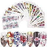 bowsugar 40 feuilles 3D couleurs mélangées Design, autocollants à ongles autocollants fleur Nail Art autocollant pour bricolage Nail Sticker décorations