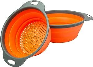 ZealMax Colador plegable, colador, set de cocina de silicona redonda para escurrir pastas, vegetales y frutas (2, naranja)