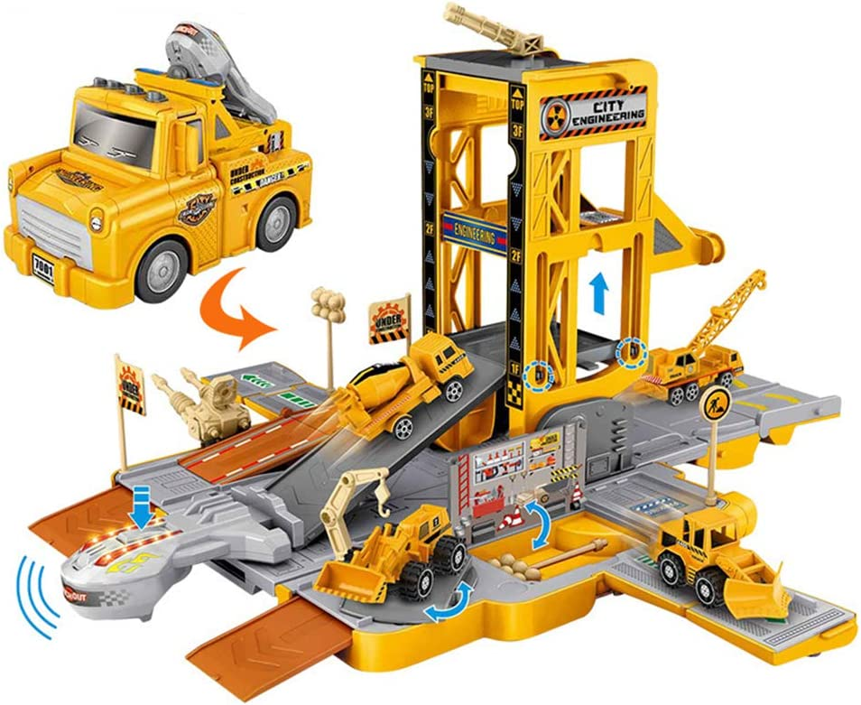 Construction Toys Popular Selling and selling overseas Garage Building Playset Track Ca Race Elevator