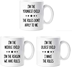 60 Second Makeover Limited Rules Mug Set I'm The Youngest I'm In The Middle I'm The Oldest Sibling Rivalry Present Mugs