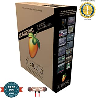 Fl Studio 20 Signature Edition Academic Student/Teacher Boxed includes Free Wireless Earbuds - Stereo Bluetooth In-ear and 1 Year Everything Music Extended Warranty