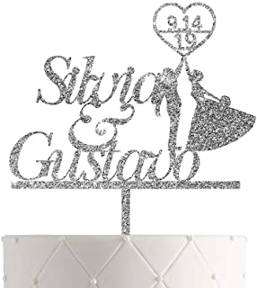 Sponsored Ad - Personalized Wedding Cake Topper With Customized Bride and Groom Last Name or Marriage Date for Mr Mrs (Sil...