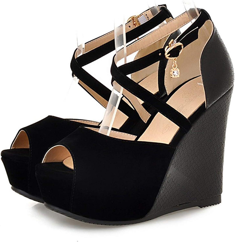 Mamamoo Women Sandals Summer Open Toe Peep Crystal Fashion Platform High Heels Wedge Sandals Female shoes