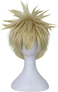 Bakugou Cosplay Wigs Short Blonde Wigs for My Hero Academia Costume Wavy Fluffy Cute Realistic Synthetic Wigs for Naruto P...