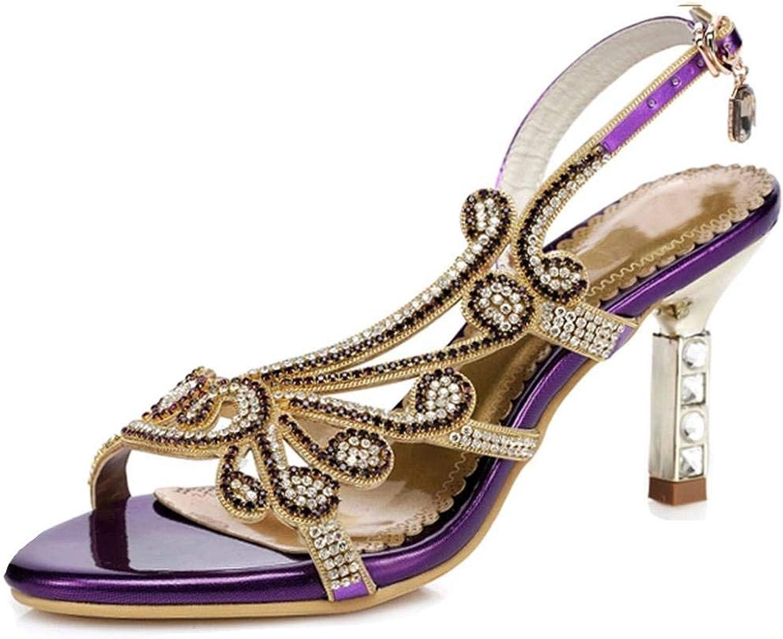 YooPrettyz Women Shimmery Crystal Studs Sandals Evening Dress Strappy Party Wedding Sandal