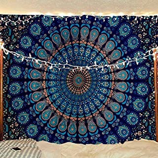 Jaipur Handloom Indian Hippie Bohemian Psychedelic Peacock Mandala Wall Hanging Bedding Tapestry Bed Cover Bedspread Picnic Coverlet Beach Blanket in Green Blue Color