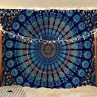 Jaipur Handloom Top Selling Psychedelic Peacock Mandala Tapestry A Perfect Hippie, Bohemian, Indian, Boho, Dorm, Hippy, Psychedelic, Wall Hanging (Queen (84 X 85 inches Approx), Blue)