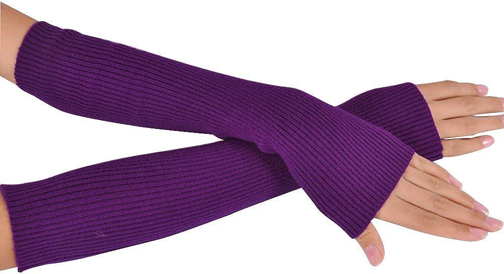 Novawo/® Womens Solid Wool Fingerless Arm Warmer Gloves