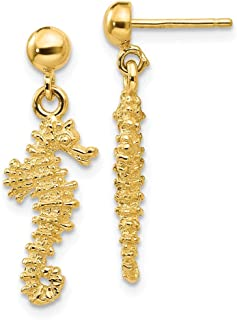 14ct Yellow Gold Textured Polished Post Earrings Sea Horse Dangle Earrings