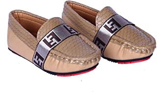 Hopscotch FEETWELL Shoes Boys Canvas Solid Loafers in Beige Color