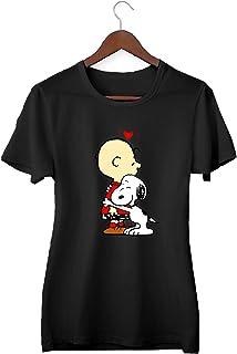 Snoopy Charlie Brown Best Friends Love_KK015641 Shirt T-Shirt Tshirt para Mujeres - Black
