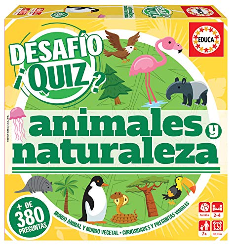 Educa- Desafio Quiz-Animales y Naturaleza Juego de Mesa, Multicolor (18219)