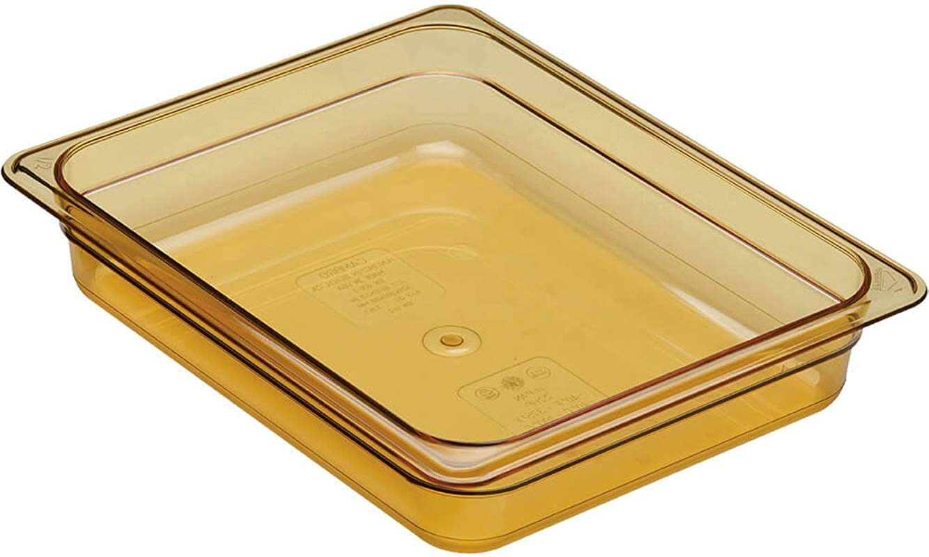 Cambro 1 2 GN Steam Table Pans High Heat Plastic 2 5 Deep 6PK Amber 22HP 150