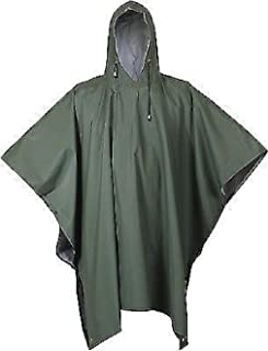 Olive Drab Durable Rubber Emergency Rain Poncho