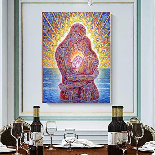 SDFSD Ozean der Liebe Glückseligkeit Ölgemälde Leinwand Romantisches Paar Moderne Wandkunst Buntes Porträt Poster Wand Wohnzimmer Wohnkultur 30 * 40cm