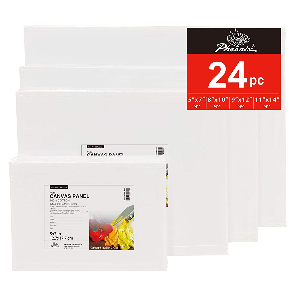 PHOENIX Painting Canvas Panel Boards Multi Pack - 6 Pack Each of 5x7, 8x10, 9x12, 11x14 Inch (24 pcs in Total) - 1/7 Inch Deep Super Value Pack for Professional Artists, Students & Kids