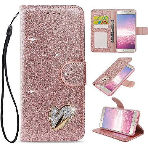 LAPOPNUT for Samsung Galaxy S8 Plus Case Glitter Diamond PU Leather Flip Case Rhinestone Jewellery 3D Love Heart Card Holder Bling Wallet Magnetic Stand Cover with Wrist Strap, Rose Gold