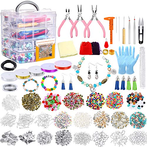 Jewelry Making Kit, 1960 Pieces Jewelry Making Supplies for Bracelets Includes PP OPOUNT Beads, Charms, Findings, Jewelry Pliers, Beading Wire for Necklace Bracelet, Earrings Making and Repairing