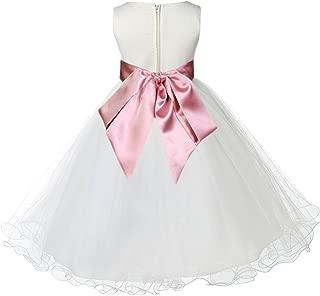 ekidsbridal Ivory Tulle Rattail Edge Toddler Flower Girl Dress Wedding Tulle Dresses 829S