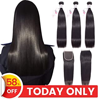 TRIO Mink Brazilian Straight Virgin Hair 3 Bundles with 4x4 Lace Closure 100% Unprocessed Remy Human Hair Weaves 8A Hair Extensions Natural Black Color (22 24 26 with 20)