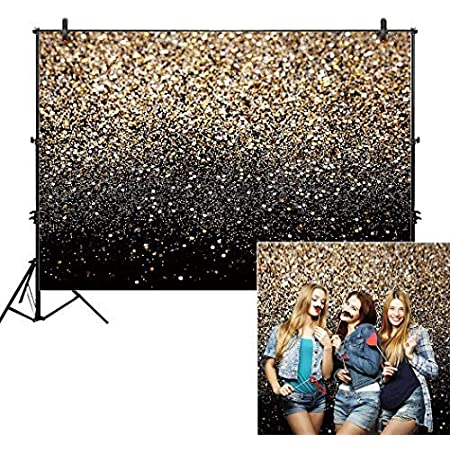 WP137 Sensfun 8x6ft Black Gold Bokeh Spots Photography Backdrop Vintage Abstract Glitter Dot Starry Sky Photo Background for Sweet 16 Birthday Prom Party Children Adult Portrait Photo Studio Props