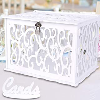 OurWarm DIY White Wedding Card Box with Lock PVC Card Box Graduation Card Box Perfect for Weddings, Baby Showers, Birthdays, Bridal or Baby Showers