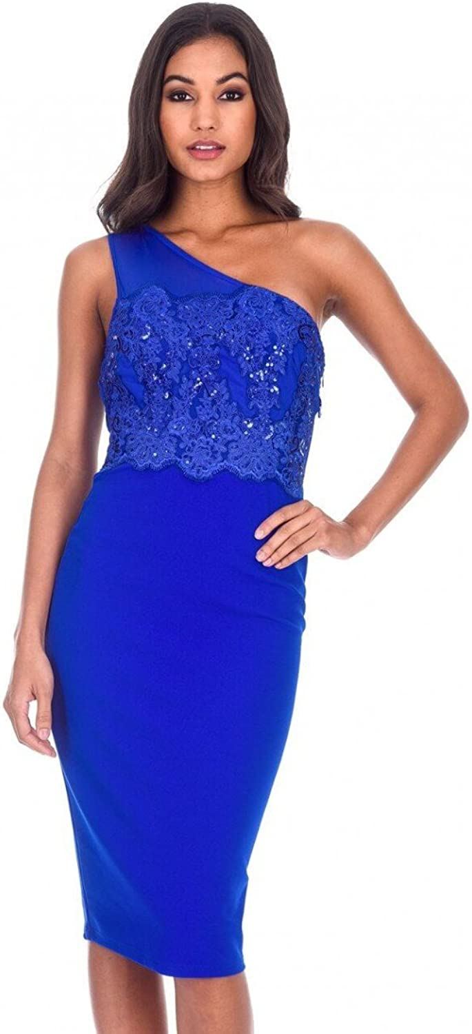 AX Paris Women's One Shoulder Sequin Embroidered Bodycon