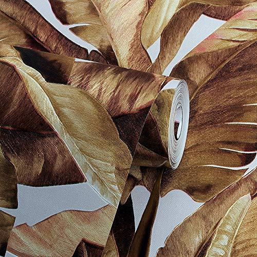 SUNLIJINYI Wand Papier, Südostasien 3D Tiefe Geprägte Nicht Self Adhesive Pflanze Muster Tapete, Club Wohnzimmer Schlafzimmer Shop Wand Aufkleber (Color : Gold)