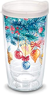 Tervis Christmas Colorful Ornaments Wrap with Frosted Travel Lid 16-Ounce Tumbler, Clear