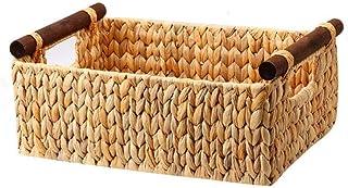 Panier de rangement Poignée en bois Rectangle Portable Multifonction Panier De Rangement Sac Sac À Linge Sac De Rangement ...