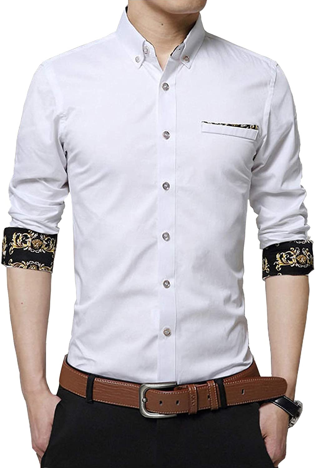 Bestgift Men's Long Sleeve Big Size Solid Floral Cuff Shirt