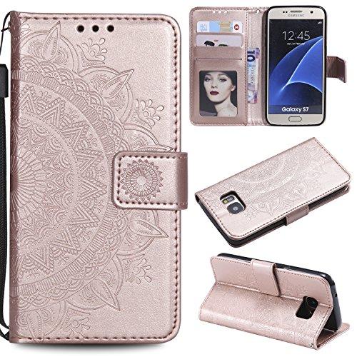 Trugox Samsung Galaxy S7 / G930 Hülle Leder Totemblume, Schutzhülle Brieftasche mit Kartenfach Klappbar Magnetverschluss Stoßfest Kratzfest Handyhülle Case für Samsung Galaxy S7 - LOHHA10620 Rosa Gold