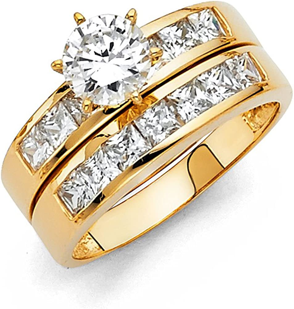 14k Yellow Gold Engagement Ring Fresno Mall and Set Wedding Band Max 42% OFF Piece 2