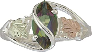 Sterling Silver .90 Ct Mystic Fire Ring with 12k Green and Rose Black Hills Gold Motif