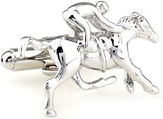 Mens Executive Cufflinks Silver Tone Racing Horse Rider Jockey and Stallion Cuff Links