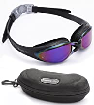 Bezzee-Pro Swim goggles Coated Tinted Lens With 100% UV Protection, Leak Proof Silicone Eye Cups for Swimming, Great Goggles for Men, Women and Adults with Swimming Goggles Case (Purple colour Lens)