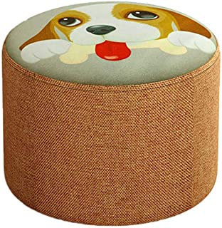 Animal Print Small Low Round Stool/Modern Home Fabric Entrance Change Shoe Bench/Living Room Sofa Ottoman Footstool/Portable Camping Stools