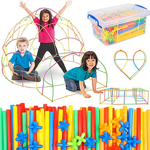 Straw Constructor Building Toy 1000 Pcs for Kids Age 3-12, Stem Activities Straws and Connectors Educational Building…