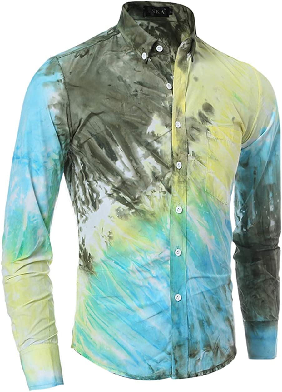 Men's Shirt Casual Fashion Classic Three Color Tie Dyed Printing Long-Sleeved Shirt Shirt Simple And Wild