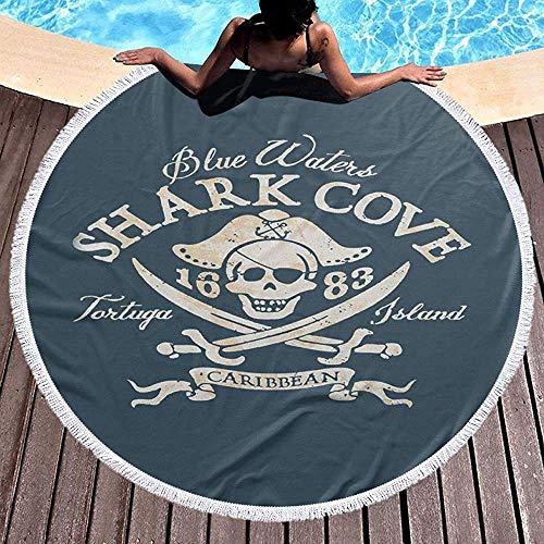 XZ-Sky Runde Strandtuchdecke Retro Piratenhai Bucht Tortuga Island Pool Strand werfen schnell schnell trocken Yoga Picknick Teppich Matte
