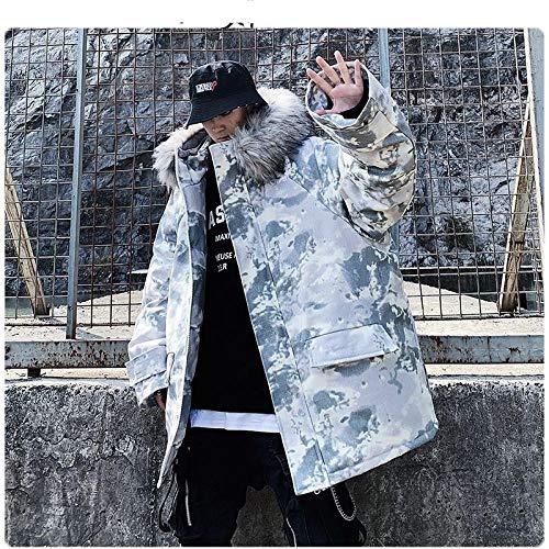 LSJSN Heren jassen Mannen Hip Hop Winter Parka Jassen Warm Dik Hooded Jas Oversized Tie-Dye Grijze Camouflage Jassen