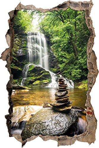 Zen Steine vor Wasserfall Wanddurchbruch im 3D-Look, Wand- oder Türaufkleber Format: 92x62cm, Wandsticker, Wandtattoo, Wanddekoration