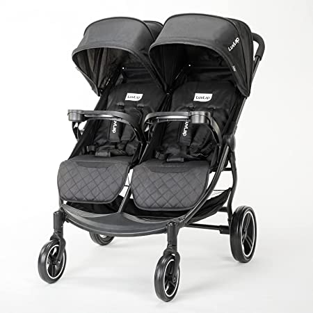 LuvLap Twin Joy Stroller/Pram, Easy Fold, Newborn Baby/Kids, 0-3 Years (Black)