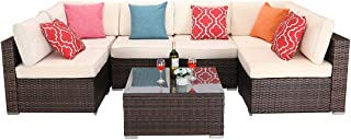HTTH Sectional Patio Sofa Outdoor Furniture, 7-Piece Set Mix Brown Rattan Sofa All-Weather Wicker Sofa with Seat & Back Cushions - Office Conversation Set (Beige)
