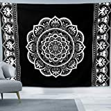 Sosolong Black and White Mandala Tapestry, Indian Bohemian Tapestry, Bedroom, Living Room Wall Decoration, Mysterious Tapestry, Wall Hanging Tapestry (Mandala, 59,51inch)